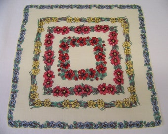 Vintage Linen Floral Hanky with Pale Yellow Background