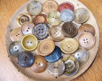 """REDUCED Lot of 24 Large Antique Buttons Tagua Nut Buttons Corozo Nut Butttons  Horn Buttons Over 1"""""""