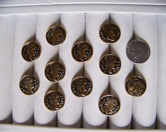 Set of 11 Vintage Gold Metal Shank Buttons Antique Look