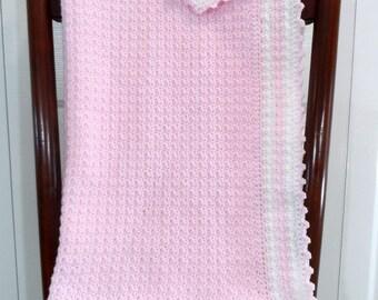 Crochet Baby Girl Blanket, Crib Bedding, Toddler Afghan, Nursery Afghan