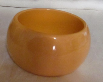 Vintage Bakelite Bangle Bracelet Wide, Chunky, Heavy, Creamed Corn Color
