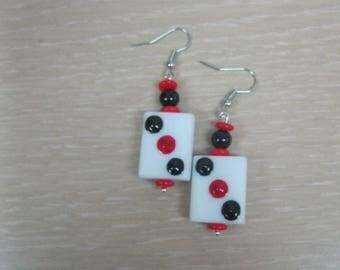 Hand-painted glass Mahjong tile earrings