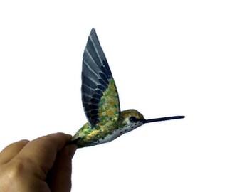 Hummingbird Art Paper mache Sculpture Figurine Colibri