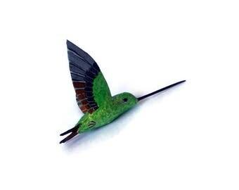 Hummingbird Art  Paper machè Sculpture bird ornament