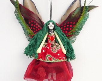 Christmas Dead Fairy peg doll, Day of the Dead fairy decoration, OOAK, gift ideas
