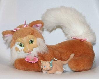 1992 Kitty Surprise Tan Beige Mommy Cat w Baby & Collar Stuffed plush by Hasbro