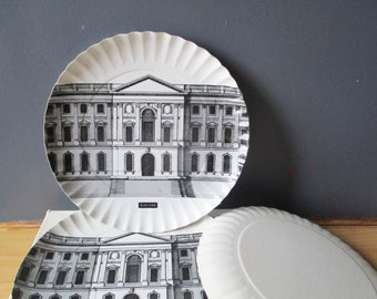 6 vintage cardboard dishes plates, LOUVRE PARIS, 1990, dish, plate assiette en carton, France