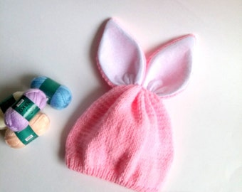 Baby Rabbit Hat, Baby Bunny Hat, Crochet Bunny Hat, Pink Bunny Ear Flap Hat,  For Girl Newborn to Adult Photo