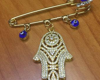Hamsa Evil eye safety pin Protection Talisman Unique Gift Chamsa Hand of Fatima Evil eye