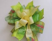 Whimsical Spring Wreath Bow Green Yellow Easter Swag Bow Funky Lime Yellow Lantern bow Yellow Lime Easter Gift Basket Bow Door hanger Bow