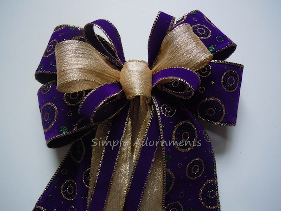 Mardi Gras Wreath bow Mardi Gras Velvet Purple Gold Bow Mardi Gras Gift Bow Mardi Gras Christmas Decor Mardi Gras Party decor Wedding Bow