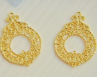 6pcs raw brass plating24k  gold   pendant finding
