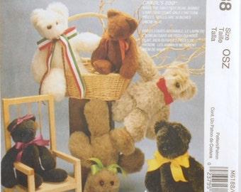 McCalls Craft Pattern Number M6188 Carols Zoo Sewing Pattern Bear Lamb Rabbit Craft Patterns 16 Inches Dolls Destash Commercial Supply