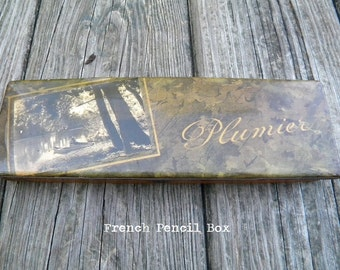French Plumier Box, French Pencil Box, 1930's, 1940's, Antique French Pencil Box, Antique Lacquered Pencil Box