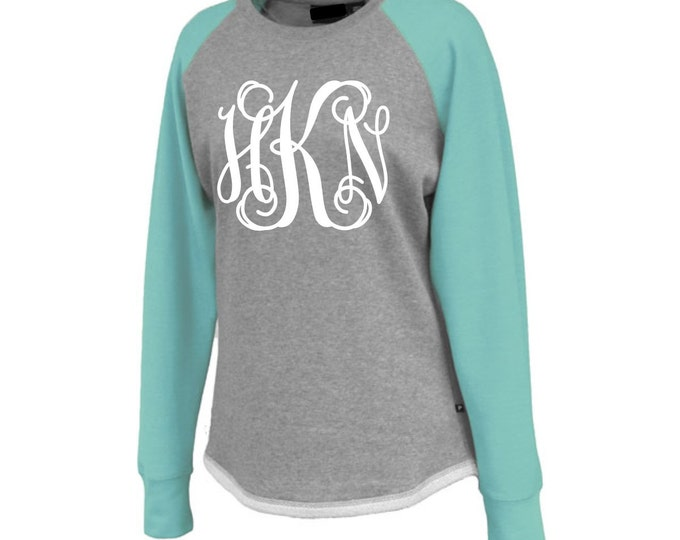 Monogrammed Raglan Sweatshirt, Monogram Sweatshirt, Raglan, Crewneck Sweatshirt, Gift for Her, Monogrammed Gifts, 5200