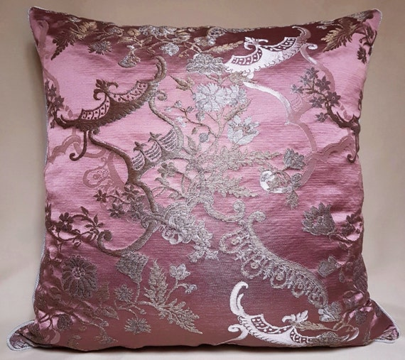 Throw Pillow Cover Mauve and Gold Silk Brocade Rubelli Fabric