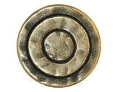 6 Mystic Rings 5/8 inch ( 15 mm ) Metal Buttons Light Antique Brass Color