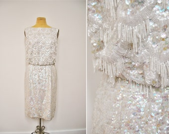 Vintage 60s STUNNING White Sequin Beaded Rhinestone Deco Dress Hollywood Party