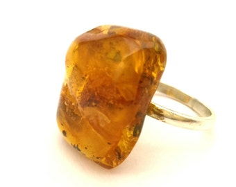 Amber Baltic Ring Genuine 5.76 Gr Honey Stone Solid Silver 925 Ring Sz.9.0