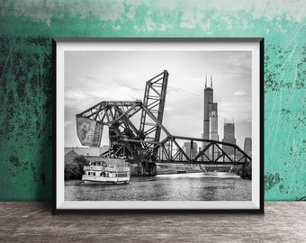 "Chicago photography print ""River"" - skyline view over the river from Chinatown"