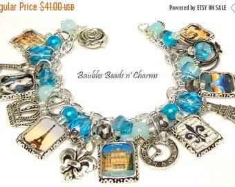 ON SALE Paris Charm Bracelet Jewelry in Aqua Blue, Paris Landmarks Charm Bracelet, French Charm Bracelet Jewelry, Paris Travel Charm Bracele
