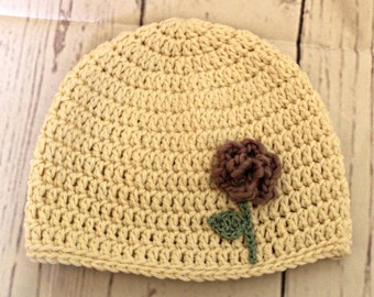 Child's winter hat -purple rose hat - ivory flower beanie - Ready To Ship -one of a kind art hat