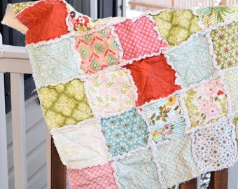 Baby rag quilt, homemade rag quilt, Pink rag quilt, aqua rag quilt, green rag quilt, floral rag quilt, baby girl rag quilt, ready to ship