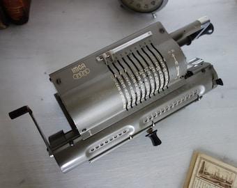 Vintage Italian Grey Mechanical Calculator circa 1950 ,Industrial Office Decor, Machine Calculator Arithmometer Mechanical Computer
