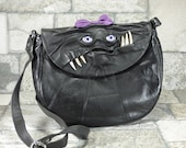 Leather Cross Body Purse With Face Monster Harry Potter Labyrinth Goth Black Rockabilly