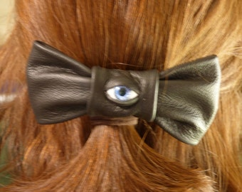 Hair Bow Clip Barrette With Eye Hair Accessory Black Leather Monster Labyrinth Harry Potter