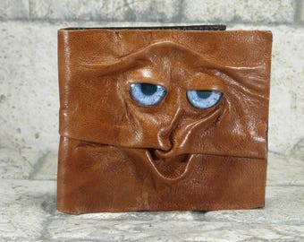 Leather Wallet Monster Face Harry Potter Labyrinth Fantasy Magic The Gathering Wiccan Horror Fathers Day Gift