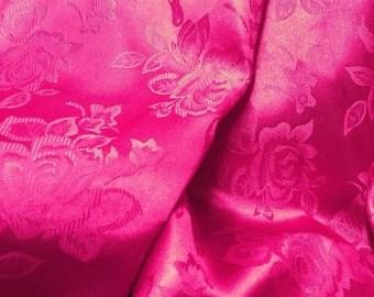 Brocade Jacquard Satin Fuchsia 60 Inch Fabric by the Yard - 1 yard