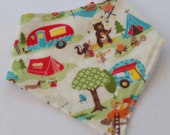 Bandana Bib in Summer Camper. Camp Life. Camping Baby. Baby Bandana Bib. Summer Baby. Camper. Woodland Baby. Drool bib. Baby Bib. Bear Bib.