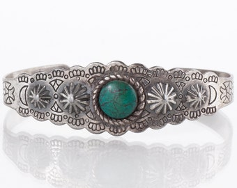 Turquoise Cuff - Vintage Sterling Silver Turquoise Cuff Bracelet