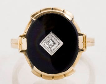 Antique Ring - Antique 10k Yellow Gold Black Onyx and Diamond Ring