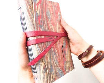 8x5 inch A5 Pink and Blue Marbled Leather Watercolor Journal -72 pages- ARCHES 140 lb Cold Press Paper -Artists Sketchbook - Travel Journal