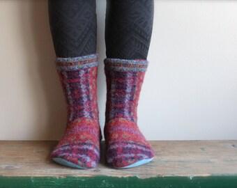 Women's Felted Wool Slippers/Cottage Socks, Women's Wool Slippers