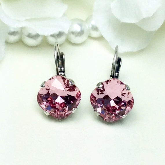 Swarovski Crystal 12MM Cushion Cut Lever- Back -Drop Earrings - Designer Inspired - Special Edition Light Rose - FREE SHIPPING