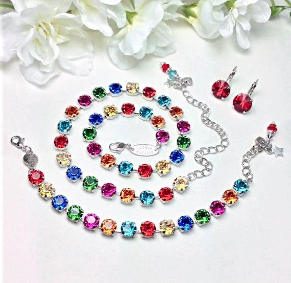 "Swarovski Crystal 8.5mm Necklace, Bracelet & Earrings - Designer Inspired  - "" Joy"" - Happy Rainbow Colors  - FREE SHIPPING"