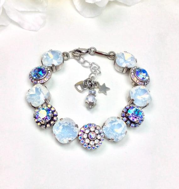 "Swarovski Crystal Bracelet - 12MM/ 8.5mm  - ""White Rosetta"" - Designer Inspired - Beautiful - Embellished Bridal Wrist Candy - FREE SHIPPING"