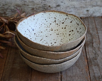 Rustic White Bowl - Breakfast Bowl - Ceramic Bowl - Pottery Bowl - Cereal Bowl - Speckled Bowl - White Ceramic Bowl