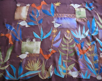 Hand painted silk scarf, Paul Klee, square scarf birds, art on silk, silk gift, art lover gift - made TO ORDER