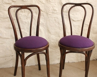 Two Vintage Bentwood chairs - Thonet Style Dining Chairs, Kitchen Chairs, Desk Chairs,
