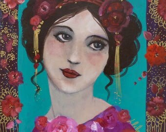Acrylic painting 20x20cm acrylic on canvas,romantic retro woman