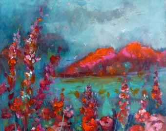 Acrylic painting 30x30cm acrylic and oil on canvas landscape