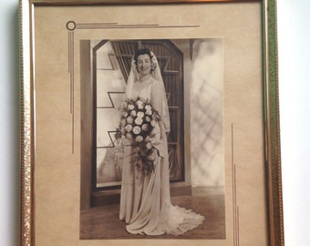 Antique Vintage Gold Framed Sepia Wedding Photo of Bride by Michael Silver of London 1920s