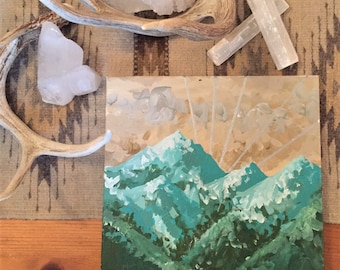 Original Mountain Painting on Canvas // 'Green Peaks'