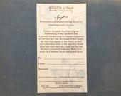 Handwriting Jewelry Gift Certificate