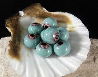 Enameled Copper Beads~Fresh Mint~Bohemian-Boho