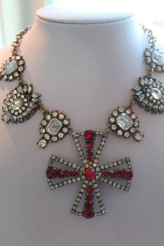 Silver Cross Rosary assemblage necklace with Silver and Red Rhinestones Cross pendant , Rhinestones , Art Deco, SteamPunk, Upscaled